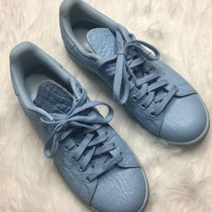 adidas Shoes - Baby Blue Croc Embossed Adidas Stan Smith